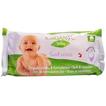 Organyc, «Сладкая ласка», Детские влажные салфетки из органического хлопка, 60 влажных салфеток