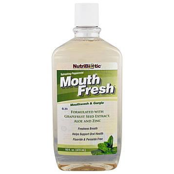 NutriBiotic, Mouth Fresh, ополаскиватель рта и средство для полоскания горла, освежающая перечная мята, 16 жидк. унц. (473 мл)