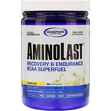 Gaspari Nutrition, Aminolast, Супертопливо BCAA, восстановление и выносливость, лимонный лед, 14,8 унц. (420 г)