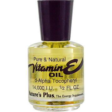 Natures Plus, Масло с витамином Е, 14,000 IU, 1/2 жидких унций