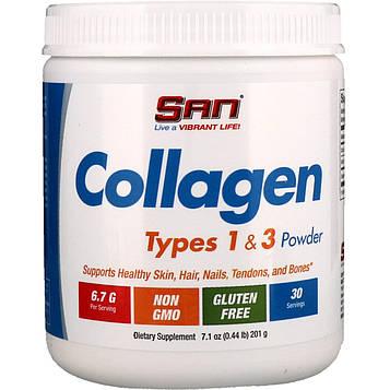 SAN Nutrition, Коллаген, тип 1 и 3 в форме порошка, 201 г