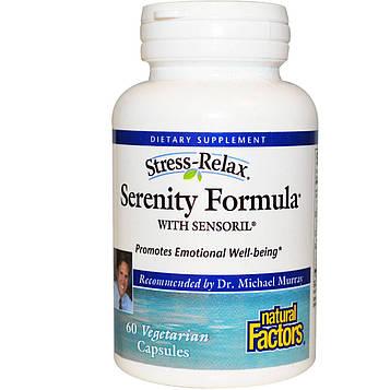 Natural Factors, Stress-Relax, Успокаивающая формула с сенсорилом, 60 вегетраинских капсул