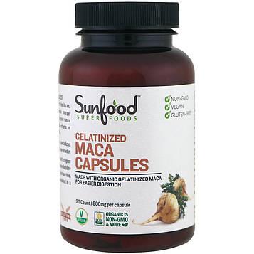 Sunfood, Желатинированные капсулы мака, 800 мг, 90 капсул