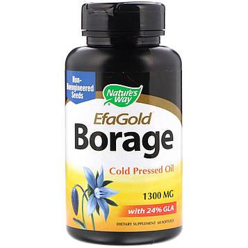 Natures Way, EFAGold, огуречник аптечный, 1300 мг, 60 мягких желатиновых капсул