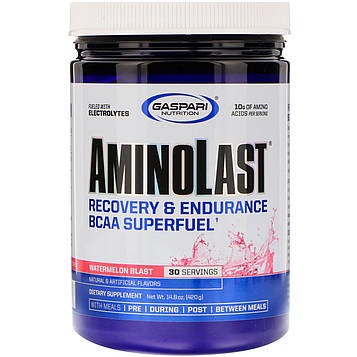 Gaspari Nutrition, Aminolast, восстановление и выносливость, супертопливо из аминокислот с разветвленной цепью, арбузный взрыв, 420 г