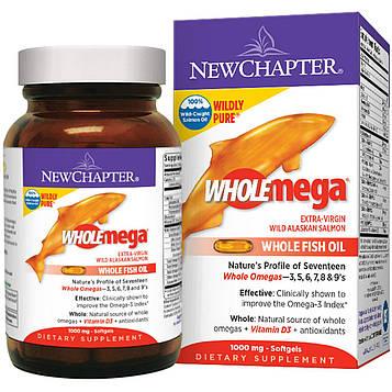 New Chapter, Wholemega, цельный рыбий жир дикого лосося Аляски, 1000 мг, 120 мягких капсул