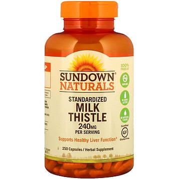 Sundown Naturals, Стандартизированная расторопша пятнистая, 240 мг, 250 капсул