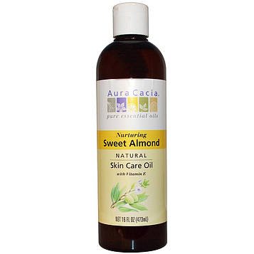 Aura Cacia, Натуральное масло для ухода за кожей с витамином Е, Питательное масло сладкого миндаля, 16 жидких унций (473 мл)