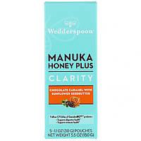 Wedderspoon, Manuka Honey Plus, Clarity, Chocolate Caramel with Sunflower Seedbutter, 5 Pouches, 1.1 oz (30 g) Each