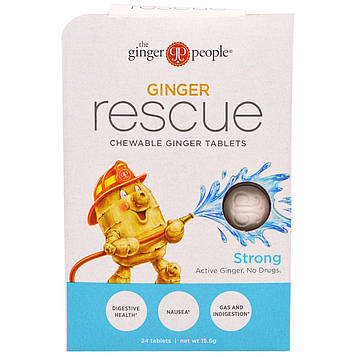 The Ginger People, Имбирное спасение, жевательные имбирные таблетки, острые, 24 таблетки (15,6 г)
