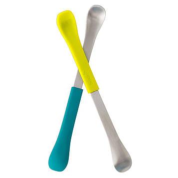 Boon, Swap, ложка для кормления 2-в-1, 4+ месяца, бирюзовая и желтая, 2 ложки