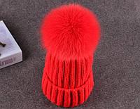 Зимняя шапка с помпоном из меха лисы (красный), женские шапки, шапка, женские шапки, шапки для девочек