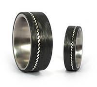 Обручальные кольца из карбона и титана