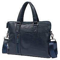 """Мужская кожаная сумка-портфель для ноутбука 15"""" Tofionno 8660-3 синяя (37х29х7 см)"""