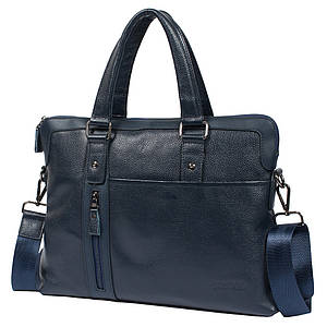 "Мужская кожаная сумка для ноутбука 15"" Tofionno 8660-3 синяя (37х29х7 см)"