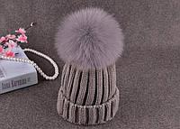 Зимняя шапка с помпоном из меха лисы (серый), женские шапки, шапка, женские шапки, шапки для девочек