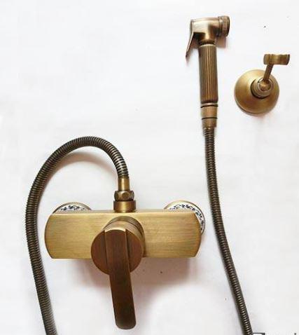 Гигиенический душ для биде со смесителем в бронзе