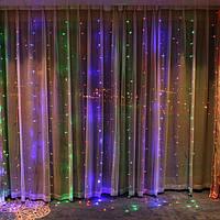 Светодиодная гирлянда штора LED 120 лампочек с коннектором: размер 2х1,2м, разноцветная гирлянда