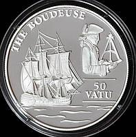 Серебряная монета Вануату 50 вату 1993 г. Корабль. Пруф