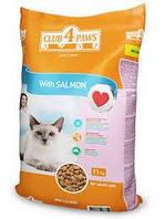 Клуб 4 лапы корм для взрослых кошек с лососем, 14 кг