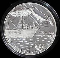 """Серебряная монета Токелау 5 долларов 1993 г. Корабль """"Пандора"""". Пруф"""