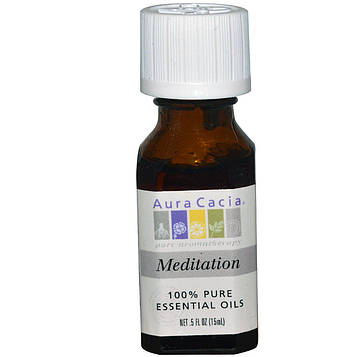 Aura Cacia, 100% чистое эфирное масло для медитации, 0.5 жидкой унции (15 мл)