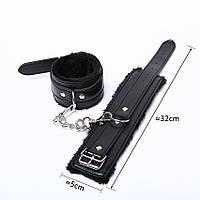 Наручники  для игр кожаные с мехом.BDSM. Садо-мазо.Черные.