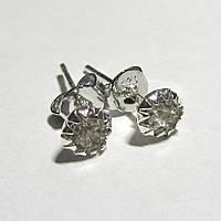 Серебряные серьги гвоздики белые стерлинговое серебро 925 проба (1370), фото 1