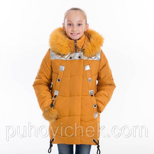 Модные зимние куртки для девочек с натуральным мехом