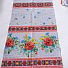 Готовое вафельное полотенце с маками, ромашками и васильками на сером фоне 45х70 см