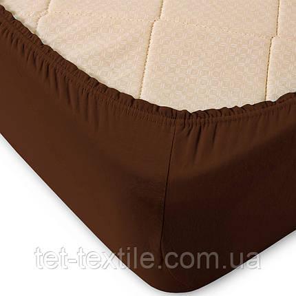 Простынь на резинке Sweet Dreams коричневая 180х200+30, фото 2