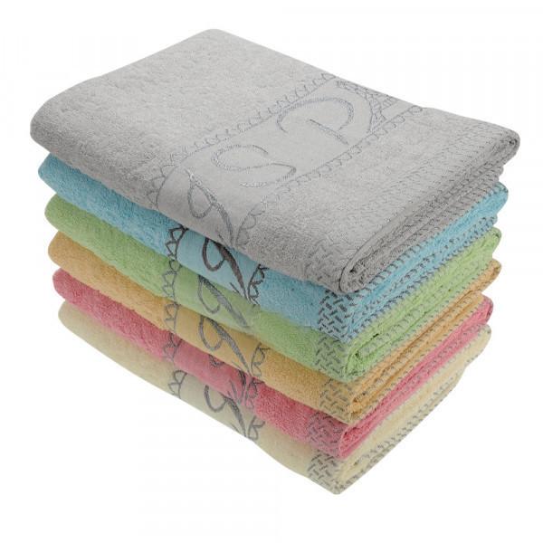 Банное махровое полотенце Светлые Кубики 6 шт в уп. Размер 1.4х70 - 100% хлопок