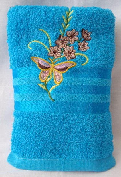 Лицевое махровое полотенце Бабочка или сакура. 6 шт в уп. Размер 50*90 100% хлопок