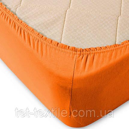 Простынь на резинке Sweet Dreams оранжевая 180х200+30, фото 2