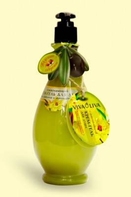 Крем-гель для душу Пом'якшуючий з оливковою олією і французською ваніллю 400мл VivaOliva, фото 2
