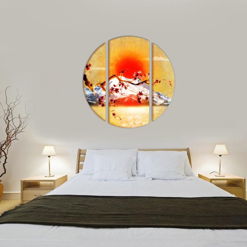 "Модульна картина ""Сакура"" круглої форми."