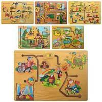 Развивающая деревянная безопасная игрушка Лабиринт для малышей