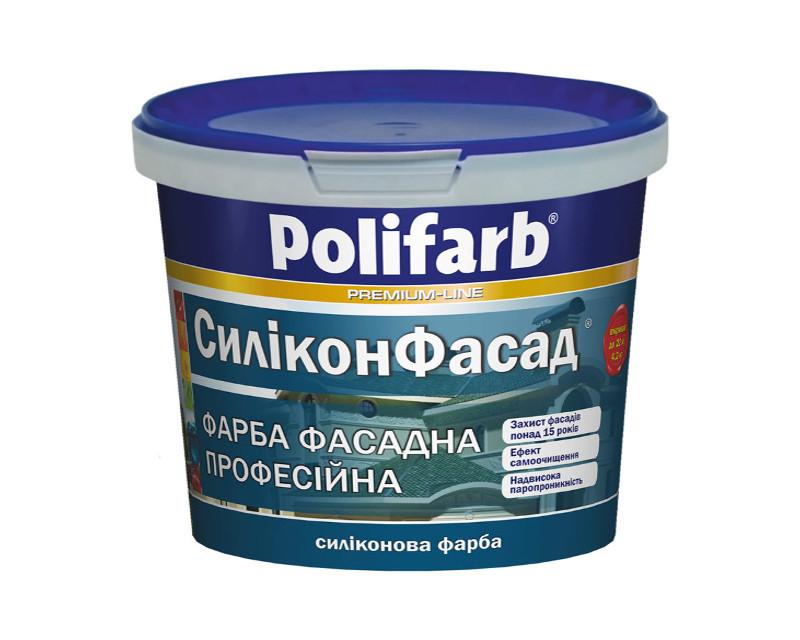 Краска силиконовая POLIFARB СИЛИКОНФАСАД фасадная, белая, 4,2 кг