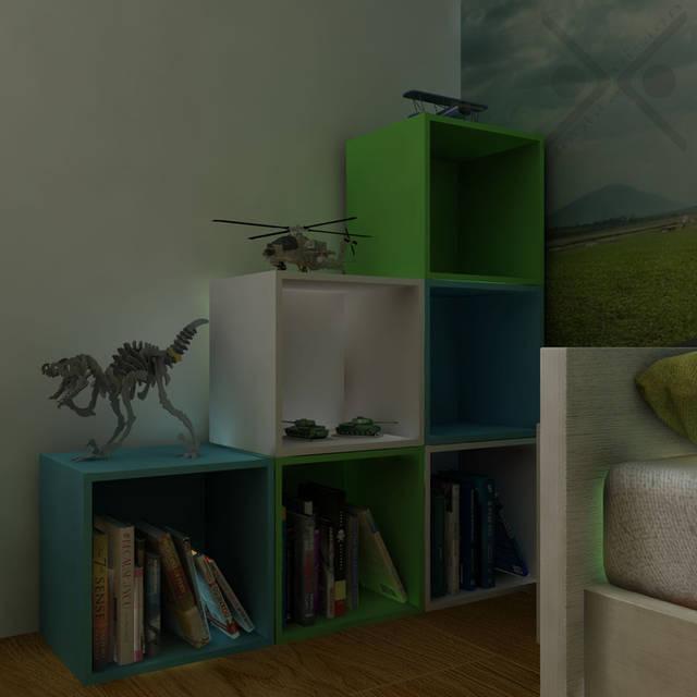 Смартбоксы эстетично организуют книги и игрушки ребенка в углу мансарды.