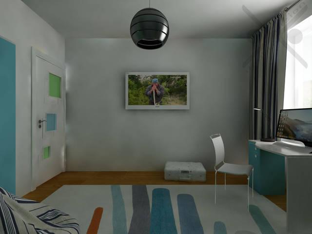 В интерьере преобладает белый цвет, который стал отличным фоном для цветных мебельных фасадов и теплого оттенка деревянного пола.