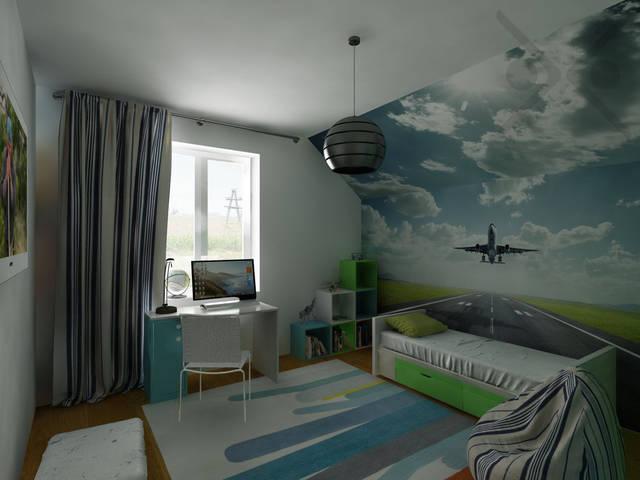 Мебель IKEA, выполненая в белом корпусе с цветными фасадами, отлично гармонирует с сюжетом на фотообоях.