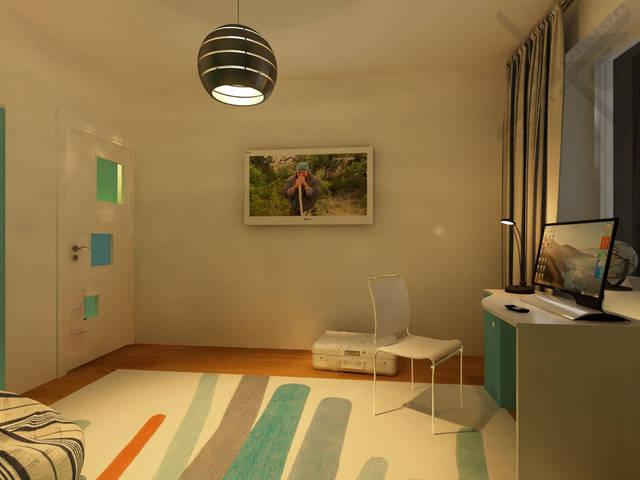 Белая дверь с вставками из цветного матового стекла является так же элементом декора.