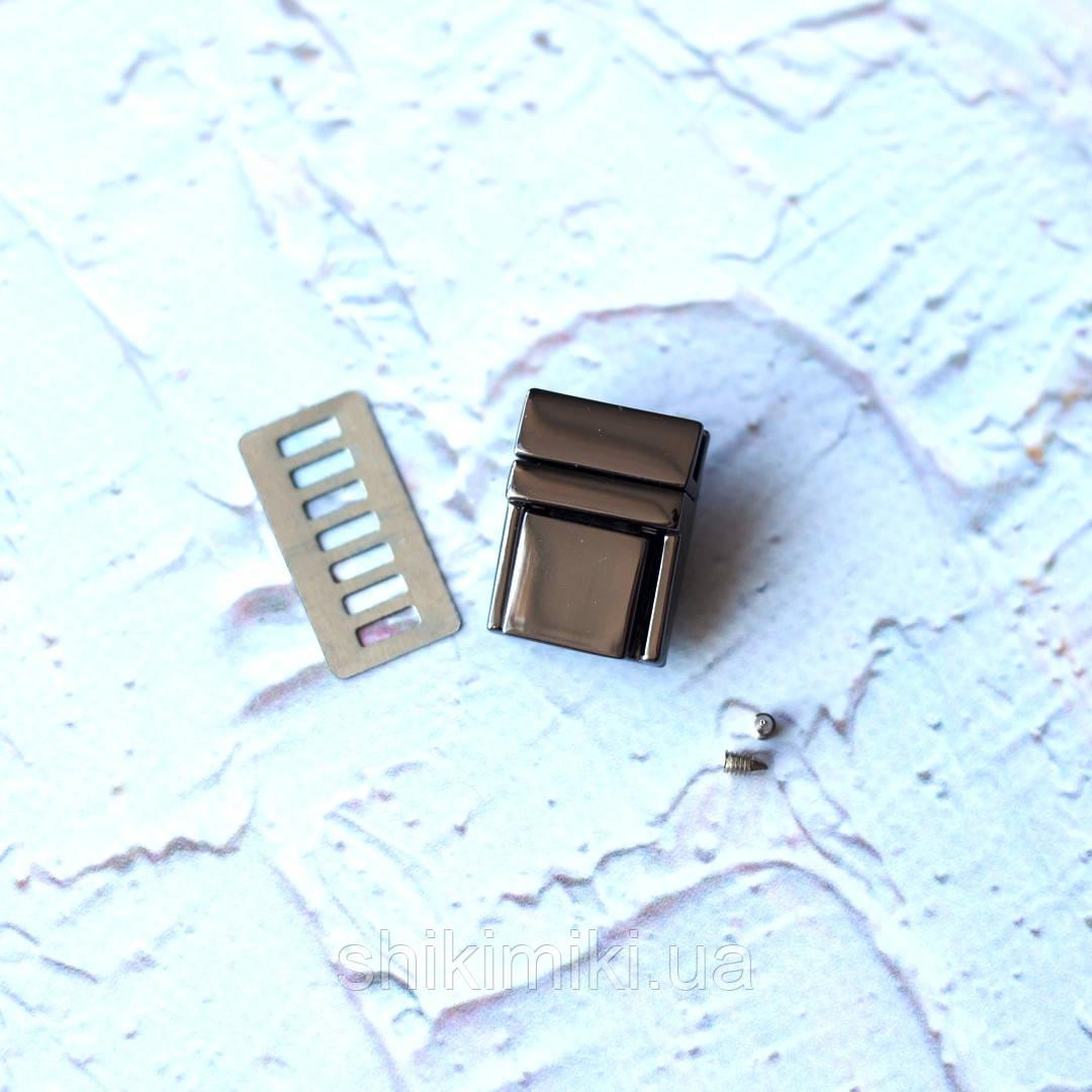 Замок для сумки маленький ZM12-2, цвет черный никель.