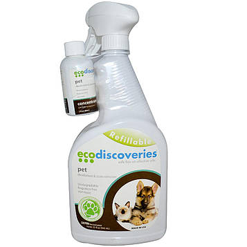 EcoDiscoveries, Дезодорант и пятновыводитель для домов с питомцами, 2 жидких унции (60 мл) концентрат с 1 бутылкой-распылителем