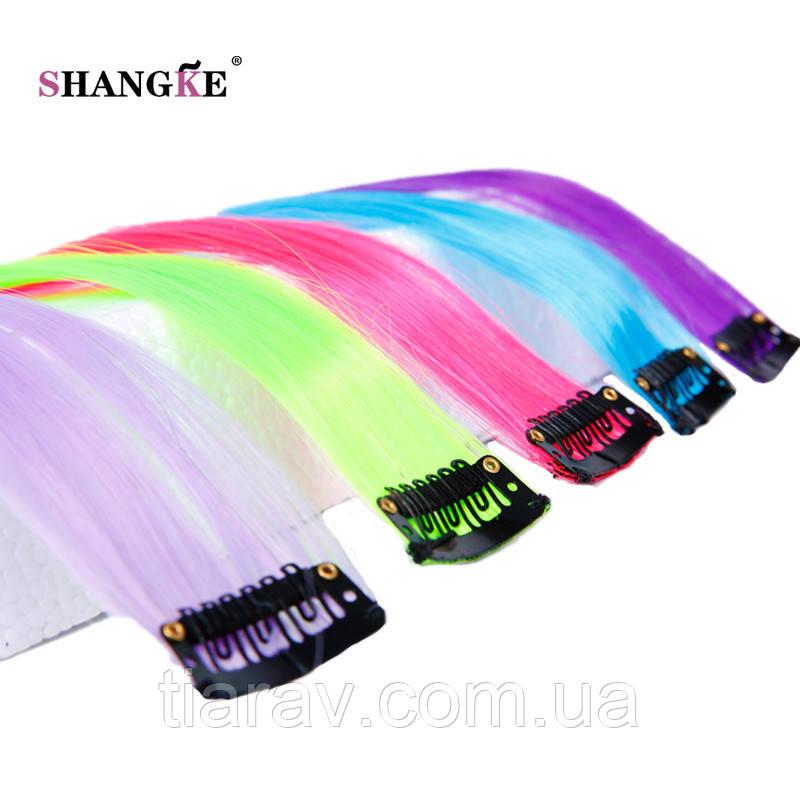 Волосы на заколках цветные яркие пряди длинные яркие волосы канекалоны