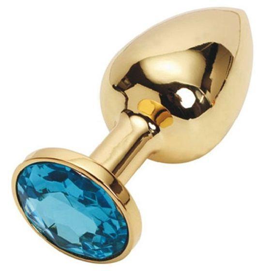 Анальная пробка золото ,пробка с кристаллом + чехол. Голубая.