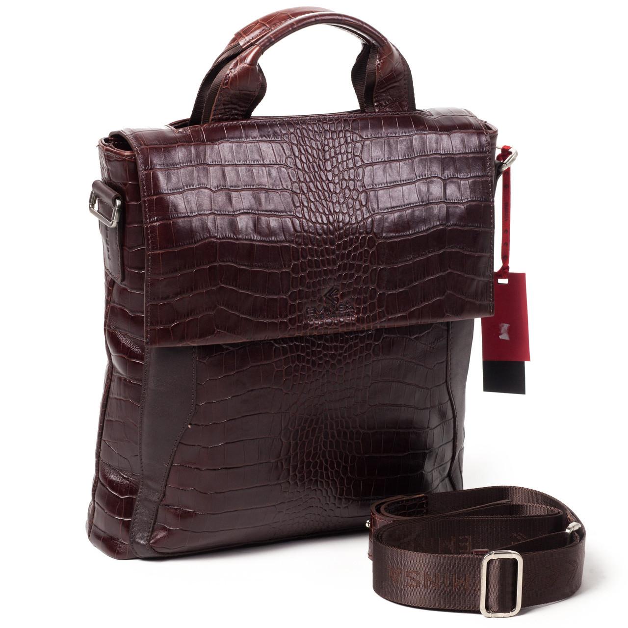 Мужская сумка кожаная коричневая Eminsa 6019-4-3 072bd7bdd5025