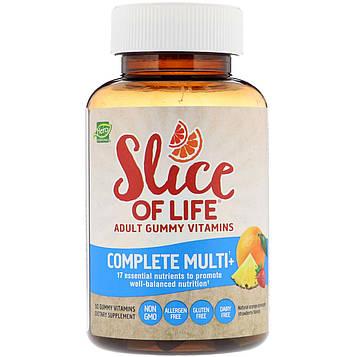 Hero Nutritional Products, Slice of Life, Жевательные витамины для взрослых, Полноценные мультивитамины+, Натуральный апельсин, Ананас, Клубника, 60