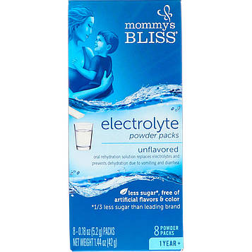 Mommys Bliss, Electrolyte Powder Packs, Unflavored, 1 Year +, 8 Powder Packs, 0.18 oz (5.2 g) Each