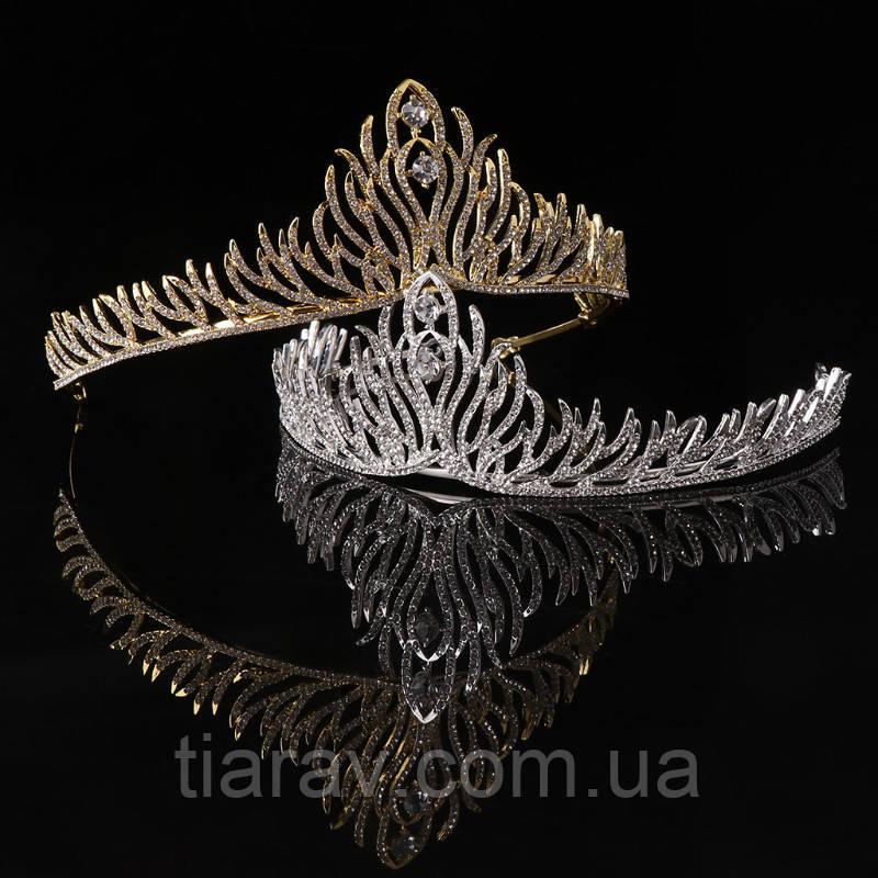 Свадебная диадема, ОЛИВЕР, тиара золотистая, корона на голову